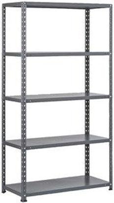 Immagine di Kit scaffale in metallo - 5 ripiani con rinforzo, fissaggio a bulloni, cm.40x100xh.185