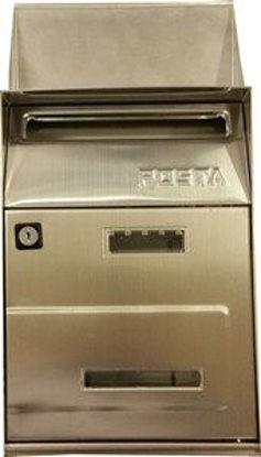 Immagine di cassetta postale in acciaio inox, misure cm. l.21,5 p.10,5 h.32