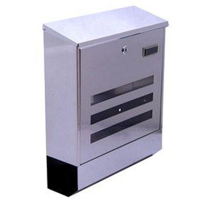 Immagine di cassetta postale in acciaio inox, misure cm. l.34,5 p.11,7 h.41,5