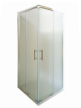 Immagine di box doccia alluminio cromato vetro opaco spessore 6mm.  misure regolabili cm. l.80/90 p. 80/90 h.185