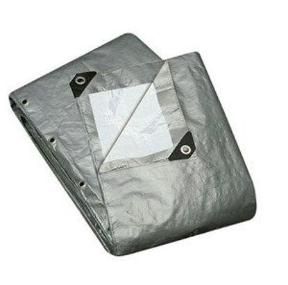 Immagine di Telo multiuso grigio occhiellato in polietilene,tipo pesante  240gr/m2 mt. 6x10