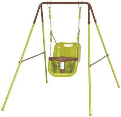 Immagine di Altalena per bimbi 1 posto, struttura in metallo, seggiolino di sicurezza in abs, dimensione cm.95x150 h.120