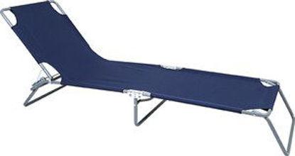 Immagine di brandina richiudibile con schienale regolabile, struttura in acciaio, seduta in tessuto textilene colore blu, dimensioni cm.187x55 h.24