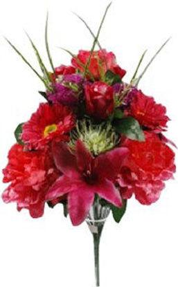Immagine di Bouquet di  misto fiori artificiali decorativi  rossi
