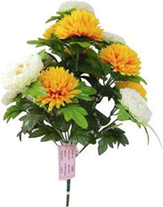 Immagine di Bouquet di  fiori artificiali decorativi  gialli e bianchi