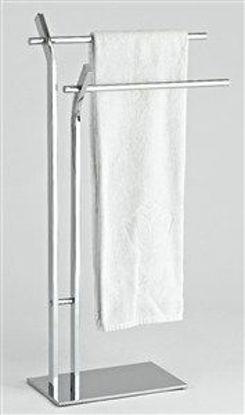 Immagine di Piantana porta asciugamano metallo cromato lusso con 2 agganci cm.45x20x84h.