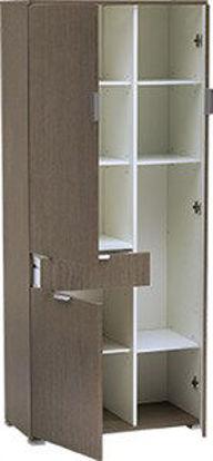 Immagine di armadio 3 ante + cassetto in legno nobilitato, finitura rovere grigio, misure cm. l.75 h.174 p.36,5, peso kg. 55