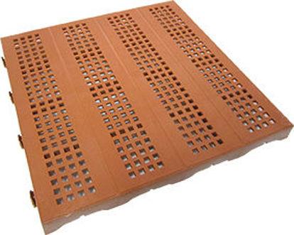 Immagine di Piastrella autobloccante in plastica rigida super resistente cm.40x40, forata cotto