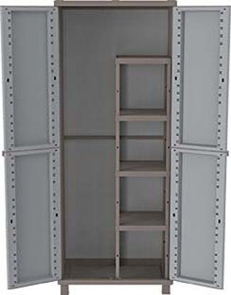 Immagine di Armadio in resina j-rattan , grigio tortora, cm. 68x37xh.170, con 4 ripiani  e portascope