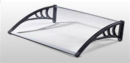 Immagine di pensilina con supporto in polipropilene rinforzato e copertura in policarbonato compatto satinato 120x100cm