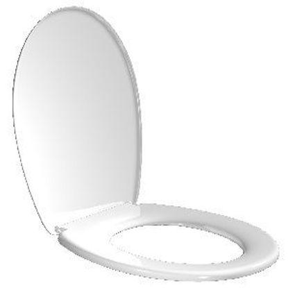 Immagine di Sedile wc. standard bianco, gr.600 in polipropilene, cerniere in plastica, estraibile per permettere una comoda pulizia. ( click & wash)