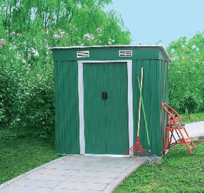 Immagine di casetta da giardino in lamiera zincata di colore verde, dimensioni esterne cm. p.121 l.194 h.181