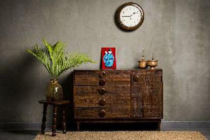 Immagine di Como' madia in legno sheesham 5 cassetti e 1 anta 120x45x85cm