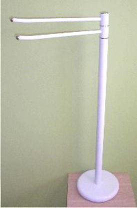 Immagine di piantana bianca/cromo porta asciugamani h.84