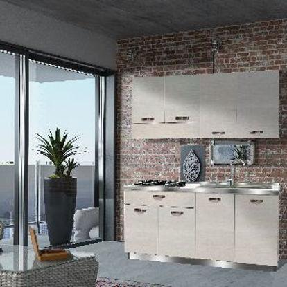 Immagine di mobile cucina  in nobilitato spessore 18 mm colore rovere rock misure cm. l.160 p. 60 h. 210