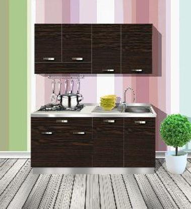 Immagine di mobile cucina  in nobilitato spessore 18 mm colore rovere duomo misure cm. l.160 p. 60 h. 210