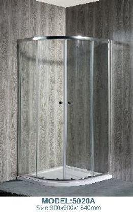 Immagine di box doccia ad arco, vetro temperato trasparente spessore mm.5, struttura profilo in alluminio lucido, maniglie in plastica, scorrimento con doppia rotellina, misure cm. 90x90 h.180