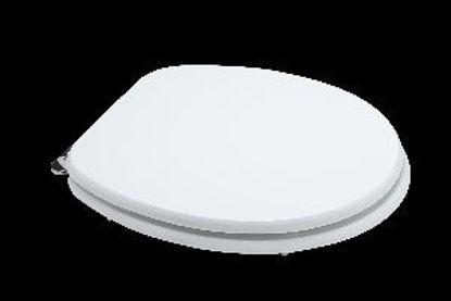 Immagine di sedile copriwater universale, in legno mdf, cerniere in acciaio cromato, misure cm.37,5x44,3/49,3 h.5, laccato bianco
