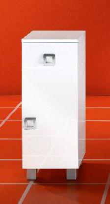 Immagine di base 30 destra, 1 anta - 1 ripiano - 1 cassetto, tutto nobilitato 16 mm, ripiani da 10 mm, casse in nobilitato, frontali laccati bianco lucido, bordo pvc bianco lucido 4/10, maniglia e piedini in plastica verniciata alluminio, misure cm. 30x32xh79