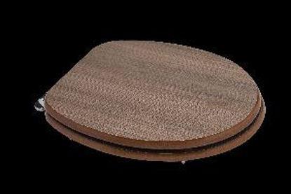 Immagine di sedile copriwater universale, in legno mdf, cerniere in acciaio cromato, misure cm.37,5x44,3/49,3 h.5, colore rovere fumo