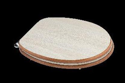 Immagine di sedile copriwater universale, in legno mdf, cerniere in acciaio cromato, misure cm.37,5x44,3/49,3 h.5, colore rovere grigio