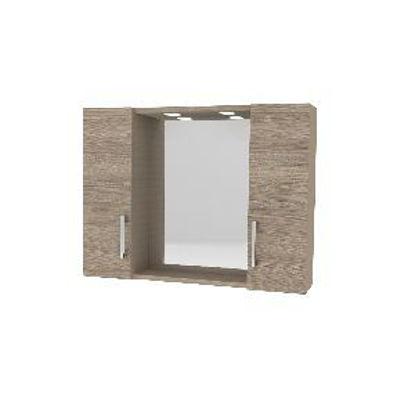 Immagine di specchiera con 2 pensile 1 anta, misure cm.77x15,5 h.57 illuminazione led, colore rovere fumo