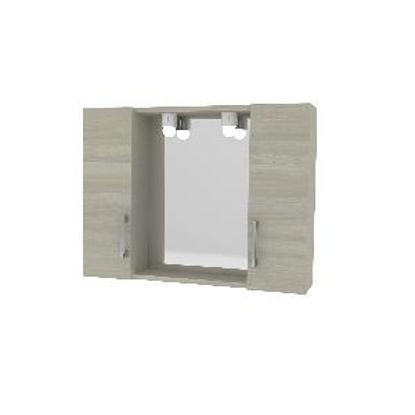 Immagine di specchiera con 2 pensile 1 anta, misure cm.77x15,5 h.57 illuminazione led, colore rovere grigio