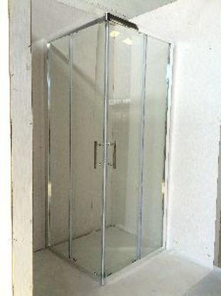 Immagine di box doccia alluminio cromato vetro temperato opaco spessore 6mm. misure cm. l.100 p.80 h.185