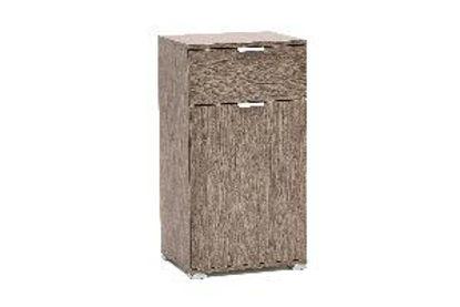 Immagine di comodino in legno nobilitato, finitura rovere grigio, misure cm. l.45 h.85 p.38, peso kg. 18