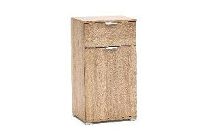 Immagine di comodino in legno nobilitato, finitura sonoma, misure cm. l.45 h.85 p.38 peso kg. 18