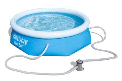 Immagine di piscina fast set diametro cm. 244 h.66, capacità lt.2.300, pompa a filtro articolo 58381 da 1.249 lt/h, cartuccia di ricambio articolo 58093
