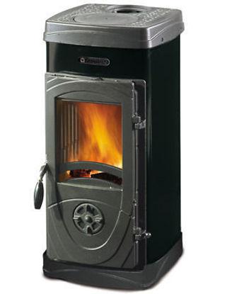 Immagine di Stufa a legna - bruciatutto max, dimensioni cm.40,2x45,7xh.82, peso kg.71, potenza termica nominale 6kw, volume riscaldabile 172m3, scuotigriglia azionabile dall'esterno, rivestimento in acciaio smaltato nero antracite